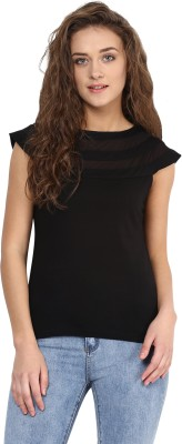 Miss Chase Casual Cap sleeve Solid Women's Black Top