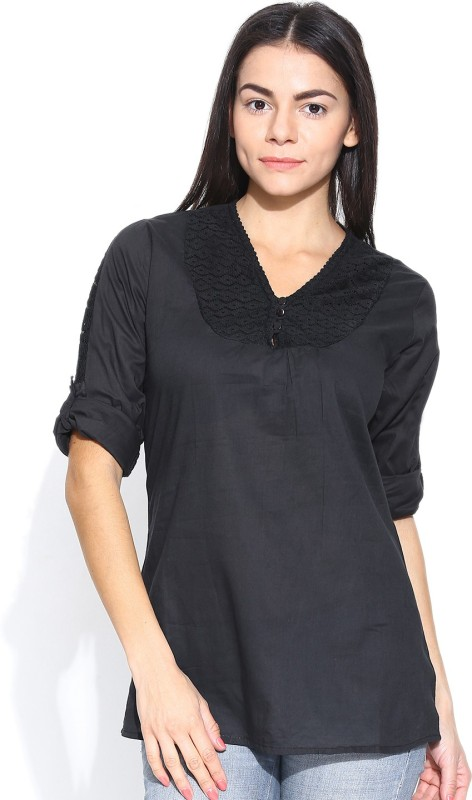 Shopaholic Casual 3/4th Sleeve Solid Women's Black Top