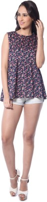 Florriefusion Casual Sleeveless Printed Women's Dark Blue Top