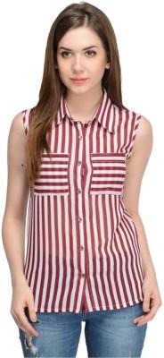 Oranje Casual Sleeveless Striped Women's Maroon Top