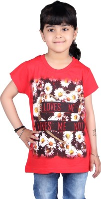 Skidlers Casual Short Sleeve Solid, Graphic Print Girl's Red Top