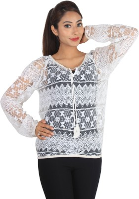 Jiyami Creations Party Full Sleeve Embroidered Girl's White Top
