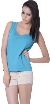 Trendy Divva Casual Sleeveless Solid Women's Blue Top at flipkart