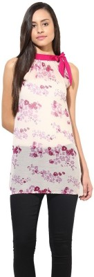La Firangi Casual Sleeveless Printed Women's Pink Top