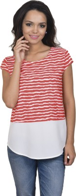 Antilia Femme Casual Cape Sleeve Striped Women's Orange Top
