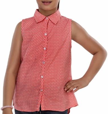 Trmpi Casual Sleeveless Printed Girl's Red Top