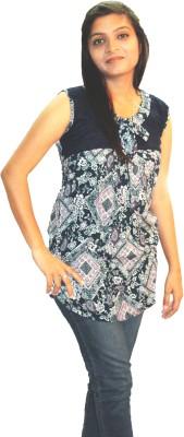 Shonaa Casual Sleeveless Printed Women's Multicolor Top