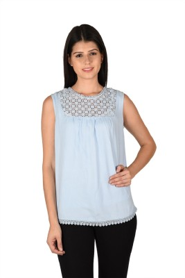 French Creations Casual Sleeveless Solid Women's Blue Top