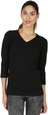 Adam n Eve Casual 3/4 Sleeve Solid Women's Black Top