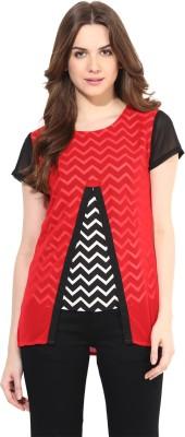 Abiti Bella Casual Short Sleeve Chevron Women's Red Top
