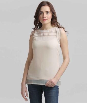 Moda Elementi Casual Sleeveless Solid Women's Beige Top