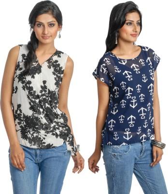 Addyvero Casual Sleeveless Floral Print Women's Multicolor Top