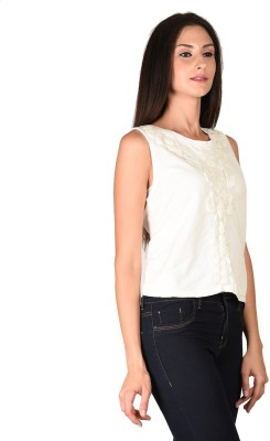 Curvy Q Casual Sleeveless Solid Women's White Top
