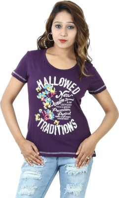 Groviano Casual Short Sleeve Printed Women's Purple Top
