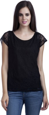MansiCollections Casual Short Sleeve Solid Women's Black Top
