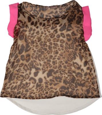 Addyvero Casual Short Sleeve Animal Print Girl's Brown, Pink Top