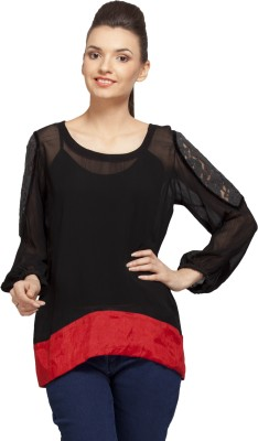 PrettyPataka Casual Full Sleeve Solid Women's Black, Red Top