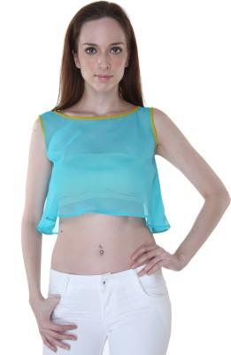 Rigoglioso Casual Sleeveless Solid Women's Light Blue Top