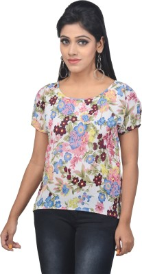 SSMITN Casual Short Sleeve Printed Women's Multicolor Top at flipkart