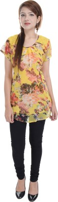 Fantasy Ika Casual Short Sleeve Floral Print Women's Yellow Top