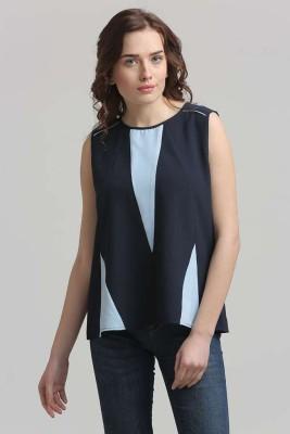 Moda Elementi Casual Sleeveless Geometric Print Women's Blue Top