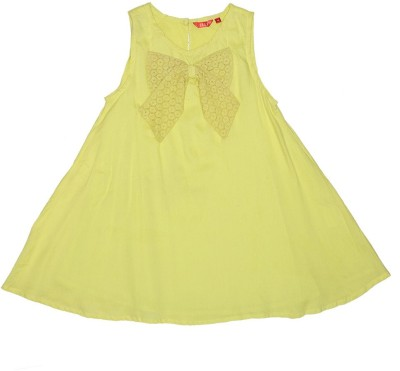 Elle Casual Sleeveless Solid Girl's Yellow Top