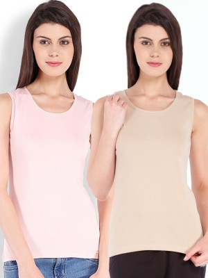 Beyouty Casual Sleeveless Solid Women's Beige, Pink Top