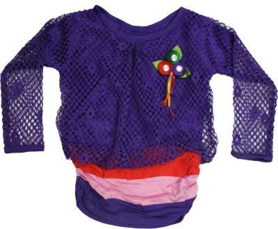 Mankoose Party Full Sleeve Self Design Girl's Purple Top