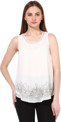 Oxolloxo Party Sleeveless Solid Women's White Top at flipkart