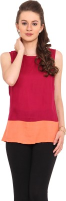Nvl Casual Sleeveless Solid Women's Maroon, Orange Top