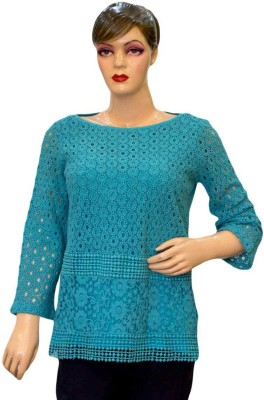 Acceptable Trading Co. Casual Full Sleeve Self Design Women's Blue Top