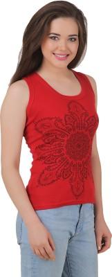 Yati Casual Sleeveless Printed Women's Red Top
