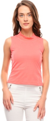 I Know Casual Sleeveless Solid Women,s Pink Top