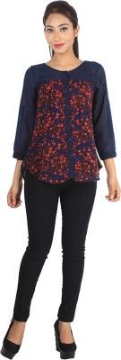 Jiyami Creations Party 3/4 Sleeve Printed Women's Multicolor, Blue Top