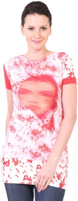 LeShe Casual Short Sleeve Printed Women,s Red Top