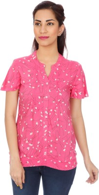 Clodentity Casual Short Sleeve Floral Print Women's Pink Top