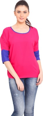 Trend Arrest Casual 3/4 Sleeve Solid Women's Pink Top