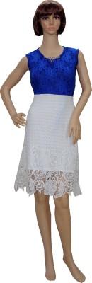Sarva Casual, Party Sleeveless Self Design Women's White, Blue Top