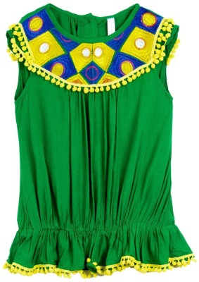 Lil,Posh Casual Sleeveless Solid Girl's Green Top