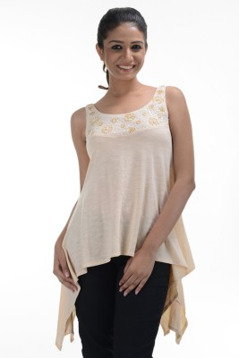No Code Party Sleeveless Embroidered Women's Beige Top