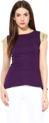 Miss Chase Party Short Sleeve Solid Women's Purple Top