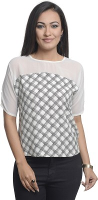 A Luv Ya Casual Short Sleeve Checkered Women's Black, White Top