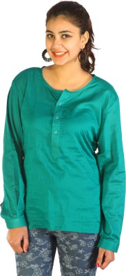 Lady Stark Casual Full Sleeve Solid Women's Green Top