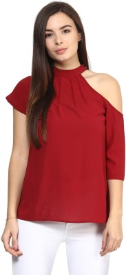 Rare Casual Short Sleeve Solid Women,s Maroon Top