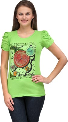 A A Store Casual Short Sleeve Solid, Printed Women's Light Green Top