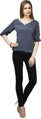 Glam & Luxe Casual Short Sleeve Solid Women's Grey Top