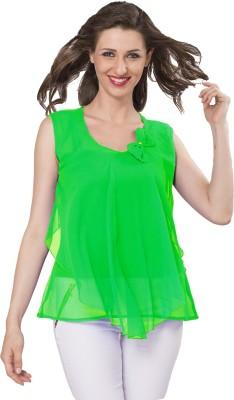 IshinDesignerStudio Party Sleeveless Solid Women's Green Top