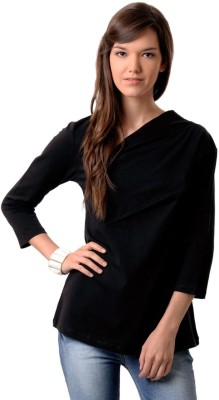 East West Casual 3/4 Sleeve Solid Women's Black Top
