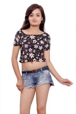 Maya Apparels Casual Short Sleeve Printed Women's Black, White Top
