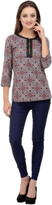Rumara Casual 3/4 Sleeve Printed Women's Black Top